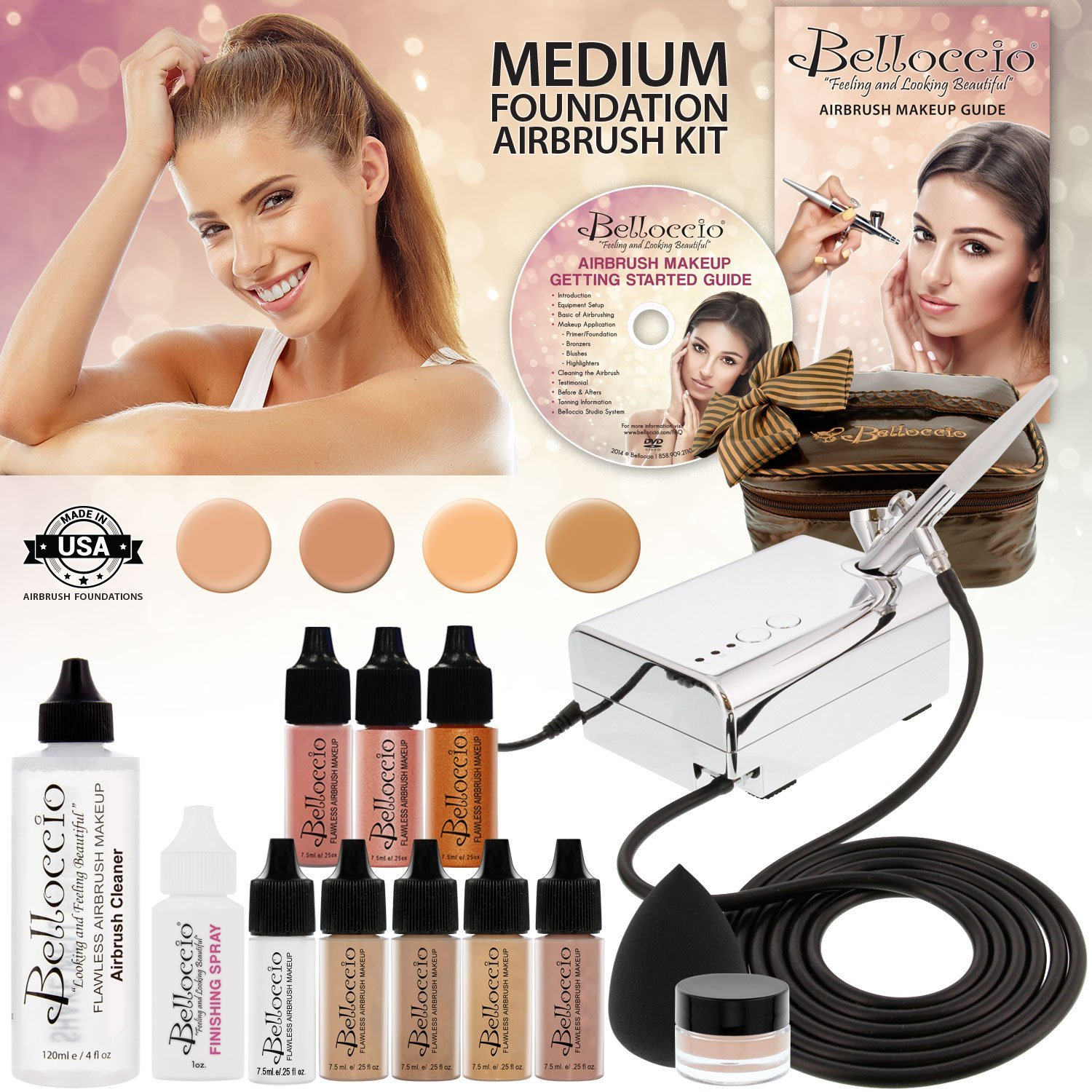 Belloccio Professional Beauty Airbrush Cosmetic Makeup System with 4 Medium Shades of Foundation in 1/4 Ounce Bottles